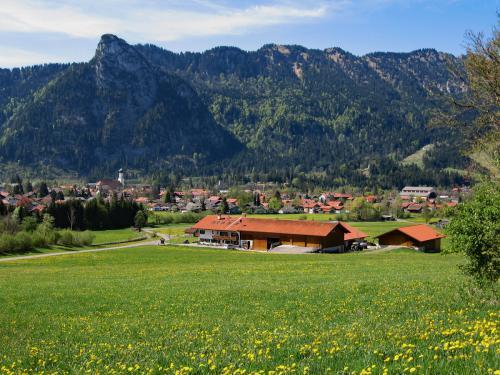 Blick über den Bauernhof Köpf nach Oberammergau